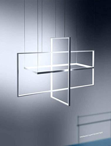 HMKJ Araña decorativa Luz colgante led moderna, regulable con control remoto 3 pista cuadrada de aluminio creativo y araña de mesa de comedor acrílico para la cocina de la isla de la cocina dormitorio