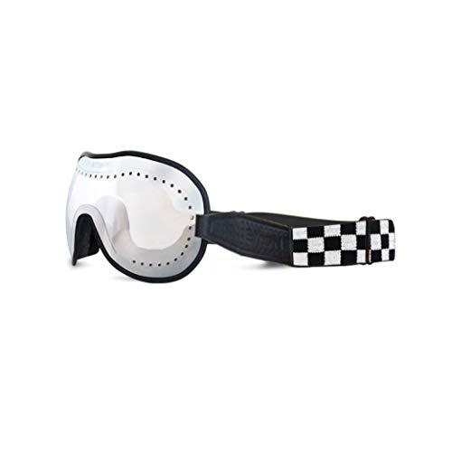 ETHEN Occhiali/Maschera (Cafè Racer) Linea Vintage per Moto e Motocross, Lente Specchiata Silver con Fori di Aerazione e Tenuta da Balistica, Elastico Intercambiabile Scacchi, Made in Italy