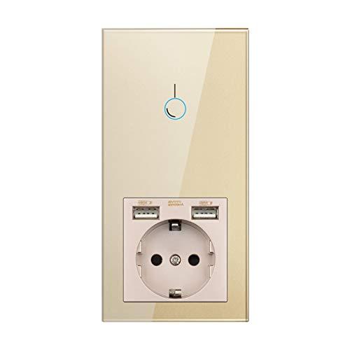 DJNCIA Panel de interruptores Sensor Interruptor, zócalo con USB, instalación Vertical Panel de Cristal de Cristal de Oro 172 * 86, zócalo con Interruptor de luz 1/2/3 para Oficina en casa