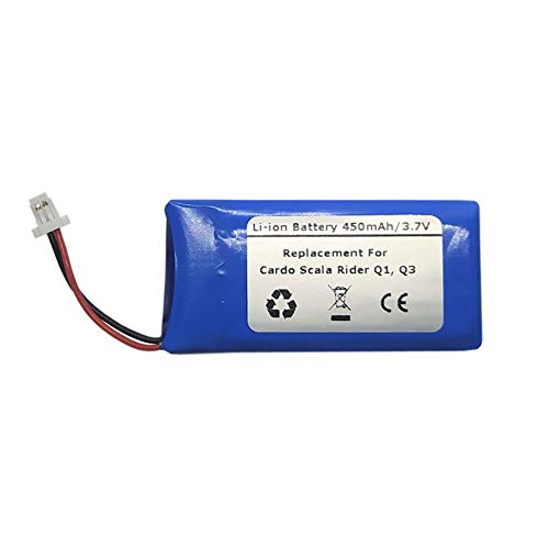 Batería de repuesto para auriculares Bluetooth Cardo Scala Rider Q1, Q3 (3,7 V, 450 mAh)
