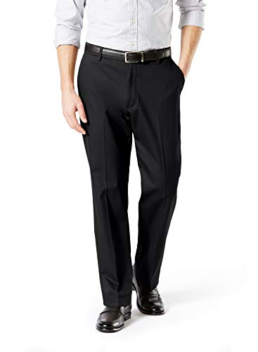 Dockers Men's Classic Fit Signature Khaki Lux Cotton Stretch Pants, black, 34W x 34L