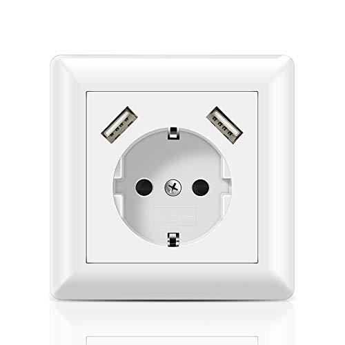 Schuko Enchufe con 2 puertos USB 2.8A Toma de pared USB Cabe en Caja Estándar Empotrada, Enchufe Superficie USB para Smartphone Tablet MP3, etc.