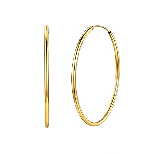 Silvora 18K Gold Hoops Round Circle Lightweight Hoop Earrings Jewelry Birthday Gifts for Women Girls, 50 MM