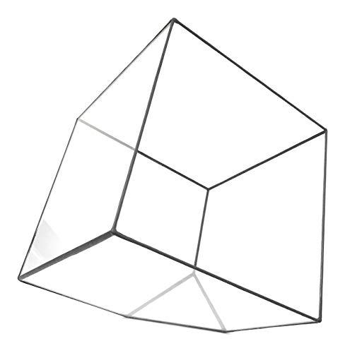 Lenka's Terrrariums Terrarium cubique, pot de fleurs géométrique et moderne en verre, fait à la main en Angleterre Mega Noir