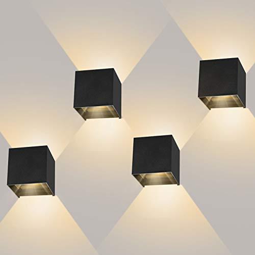 ledmo 4 pezzi 12W Lampada da Parete LED Moderno Applique da Parete interno/esterno Bianco caldo 3000K Lampada da Muro Applique cubo in alluminio IP65 Impermeabile Nero