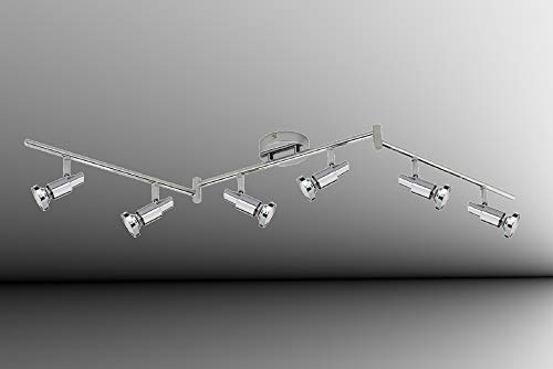 Trango 6-flammig 2991-068-6W LED Deckenleuchte *OSCAR* in Chrom-Optik inkl. 6x 5 Watt GU10 LED Leuchtmittel I Deckenlampe I Deckenstrahler I Deckenspots I Wohnzimmer Lampe schwenkbar und drehbar