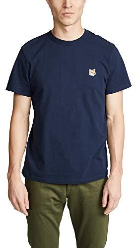 Maison Kitsune Men's Fox Head Patch T-Shirt, Navy, Blue, Graphic, Medium