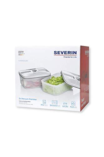 SEVERIN ZB 3620 2 recipientes de almacenamiento de alimentos, capacidad de 0,75 litros cada uno, para aspiradora inalámbrica FS 3600, transparente, plástico, transparente