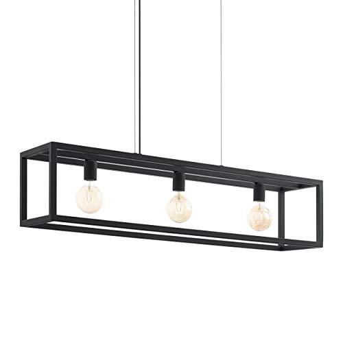 EGLO Pendelleuchte Kirkcolm, 3 flammige Hängelampe Industrial, Hängeleuchte aus Stahl in Schwarz, Esstischlampe, Wohnzimmerlampe hängend mit E27 Fassung