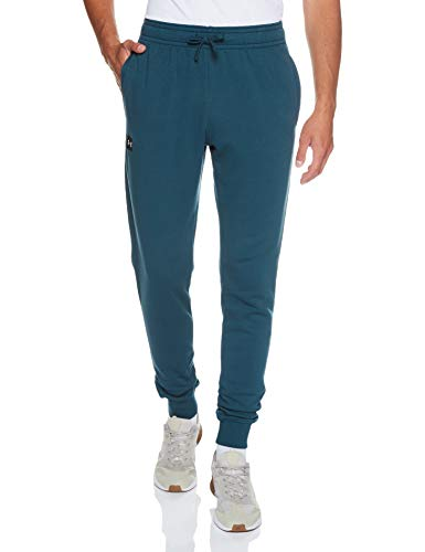 Under Armour Rival - Pantaloni da Jogging in Pile, da Uomo Ciano Scuro / / Bianco onice (463) L