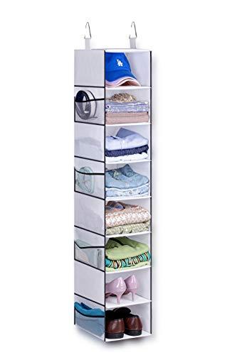 KIMBORA 8-Shelf Hanging Closet Organizers and Storage 8 Mesh Side Pockets Hanging Shoe Rack Hat Holder for Clothing Caps Purses, White