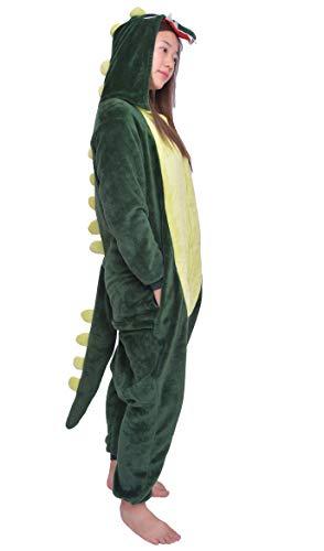 D'BOON Adultes Enfants Dinosaure Onesie Animal Pyjama Une pièce vêtements de Nuit Cosplay Costume(Fit Hauteur(143-154cm))