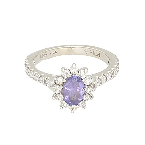 Anillo para mujer de oro blanco de 14 quilates con halo de diamantes y tanzanita (tamaño I) cabeza de 8 x 10 mm, anillo de lujo para mujer