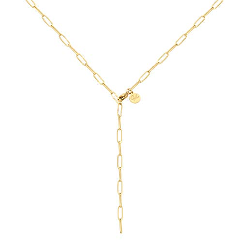 Good.Designs Y Kette (Ankerkette) Filigrane Damen Halskette mit verstellbarem Hakenverschluss in Gold Goldkette goldschmuck goldfarben goldenehalskette golden vergoldet