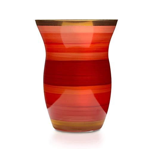 Angela Neue Wiener Werkstätte Monika Tomato Vasen aus farbigem Glas, Rot, 13 cm