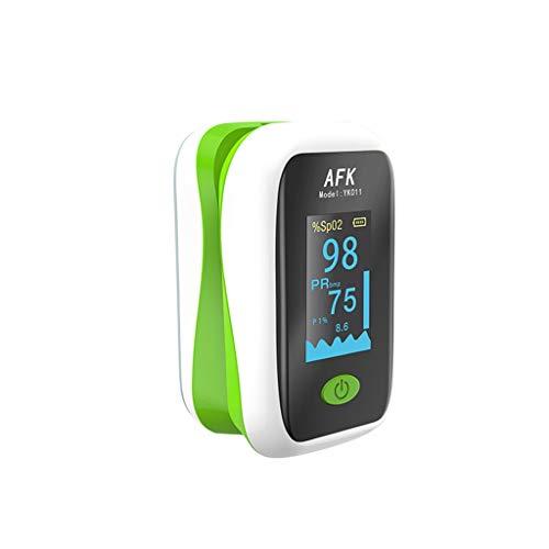 XmklovEyi Oxímetro_Mini pulsioxímetro de Dedo, frecuencia de Pulso, Monitor de saturación de oxígeno en Sangre, Pantalla OLED Transparente, cordón, Funda de Silicona para Uso doméstico
