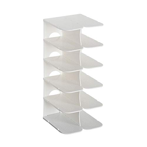 6 Layers Dustproof Shoe Rack Space Saving Shoe Hanger Shelf Stackable Shoes Storage Rack Assembly Shoes Stand Organizers Cabinet White6Layer
