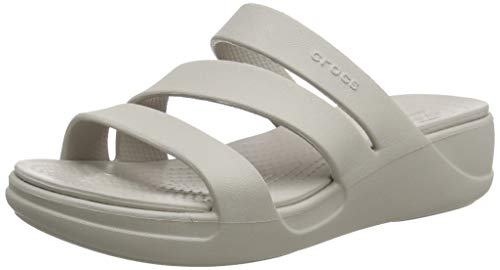 Crocs Damen Monterey Strappy Wedge W Sandalen, Grey, 39/40 EU