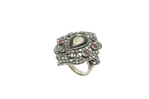 PH Ring Sterling-Silber 925 echte Diamanten im Rosenschliff Rot 04