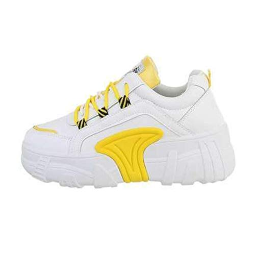 Zapatillas deportivas para mujer, color amarillo, Amarillo (amarillo), 39 EU