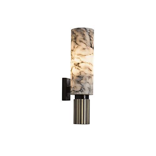 Wmdtr Moderno Apliques de Pared Interior, luz de mármol de la Pared Decorativa, lámparas de Pared de Cobre Puro cilíndricas Negras para Sala de Estar, Cama, Dormitorio, Escalera