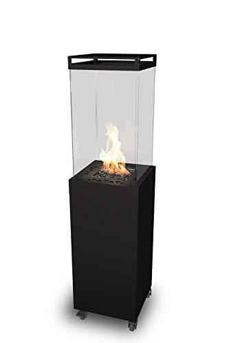Gas-Terrassenstrahler – Design Outdoor Gaskamin für Garten – Leuchtturm Planika (schwarz)