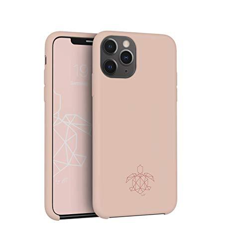 turtleandcase Hülle Kompatibel mit iPhone 11 Pro & kostenlosem Panzerglas, Silikon oder Stoff Handyhülle, Dünne Schutzcase & Stoßfest für iPhone 11 Pro 5,8 Zoll (Sand Pink)