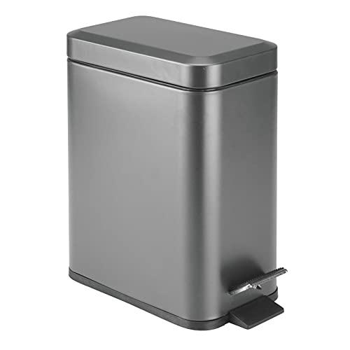 mDesign 1.3 Gallon Rectangular Slim Profile Metal Step Trash Can Wastebasket, Garbage Container Bin, Bathroom, Powder Room, Bedroom, Kitchen, Craft Room, Office, Removable Liner Bucket - Graphite Gray