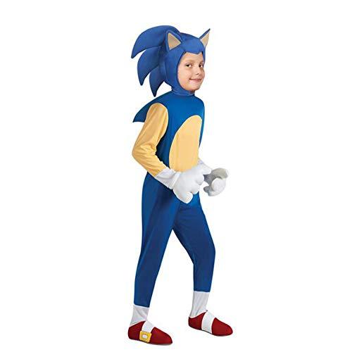 domorebest Kinder Halloween-Kosmetik-Kostüme Mädchen Jungen Jungen 101cm-152cm Spiel Sonic Jumpsuits mit Kopfbedeckung Kinder Karneval Party Rompers