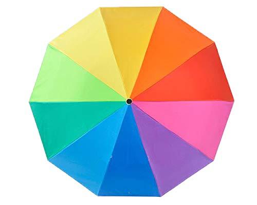 [ジンニュウ] 日傘 折りたたみ傘 uvカット 遮熱 虹柄 レインボー傘 レディース傘 カラフル傘 折り畳み傘 雨傘 晴雨兼用 8本骨 10本骨 梅雨対策 大きいサイズ 軽量 収納ポーチ付き 10本骨