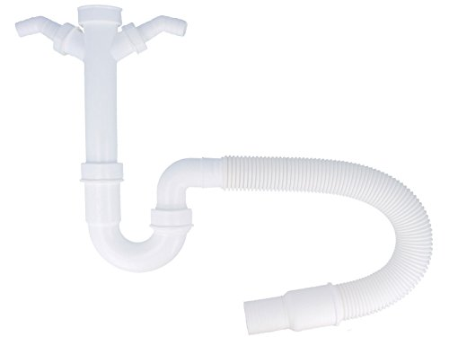 tecuro Spülen Siphon Geruchsverschluß mit 2 Geräteanschlüssen - flexibel kürzbarer Ablaufschlauch NEU