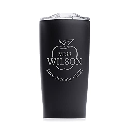 Lifetime Creations Engraved Personalized Teacher Tumbler with Lid 20 oz (Black) - Custom Teacher Appreciation Coffee Travel Mug, Thank You, Graduation Gift from Student