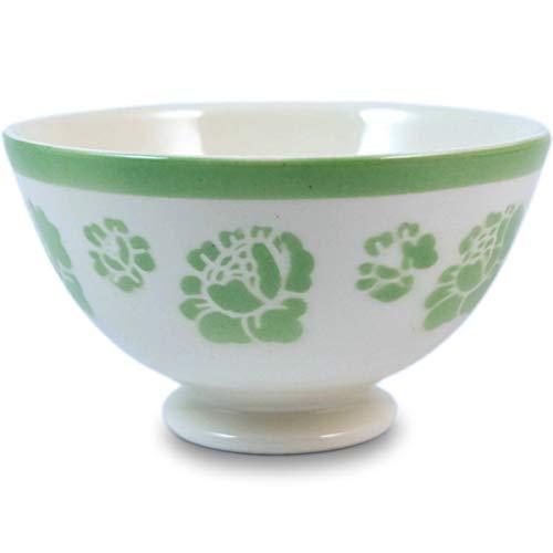 Niderviller Milchkaffee Müsli Schale original Fayence Keramik mit Standfuß 40 cl Stiefmütterchen grün
