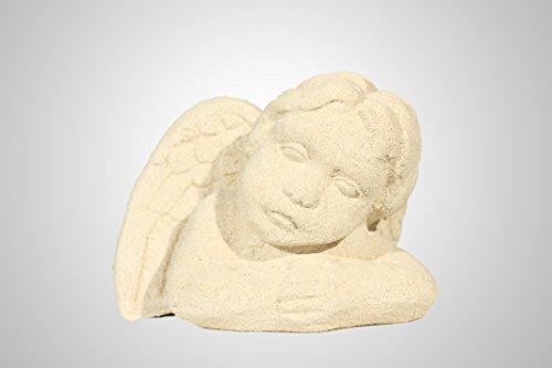 Engel Figur liegend, Skulptur, Engelbüste - halb liegend ca. 15 cm Länge. Steinguss - Handarbeit, cremefarben.