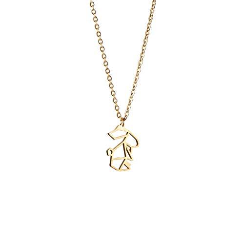 La Menagerie Kaninchen Gold, Origami-Schmuck & vergoldete geometrische Kette - 18-karätig Goldkette & Kaninchen-Halsketten - Kaninchen-Halskette für Frauen & Mädchen & Origami-Halskette