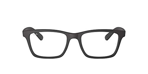 Ray-Ban RX7025 Square Prescription Eyeglass Frames, Matte Black/Demo Lens, 53 mm