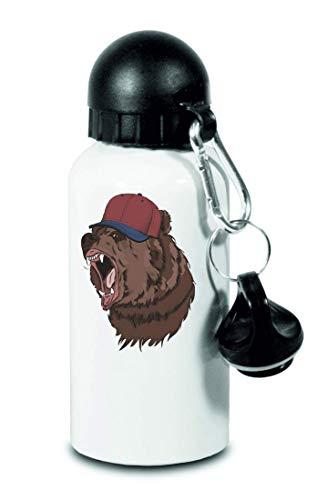Drucklebnis24 Bär Hipster Cap Braun - Botella de agua para niños, escuela, deporte, fitness - fina botella de aluminio, color Blanco, tamaño 500 ml