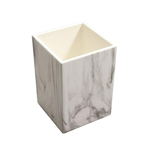 Buqoo Marble White Pen Pencil Holder Desk Organizer for Girls Makeup Brush Organizing, Daily Use in Office, School, Home or Classroom and More