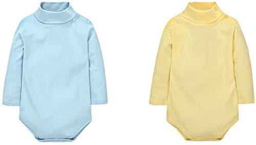 CuteOn 2 paquetes Unisexo Bebé Rompers - Cuello polo Manga Larga - 100% Algodón - Infantil Body Mono Azul + Amarillo 18 Meses