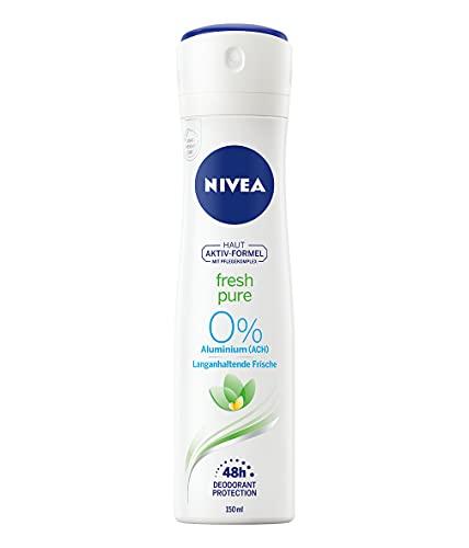 NIVEA Fresh Pure Deo Spray (150ml), Deo ohne Aluminium (ACH) mit Jasmin-Duft und erfrischender Formel, Deodorant mit 48h Schutz und sanfter Pflege