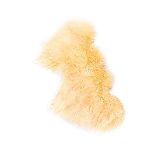Knowoo Two Hearts Soft Sheepskin Plain Area Rugs Shaggy Chair Cover Couch Stool Seat Pad Mat Cushion Carpet Blanket for Bedroom Sofa Floor