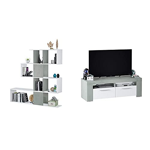 Habitdesign Estantería Librería, Salón, Comedor O Despacho + Mueble De Comedor Moderno, Modulo TV Salon, Modelo Ambit