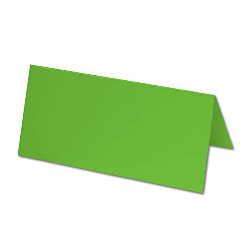 50x Tischkarten in Hellgrün - 4,5 x 10 cm - 240 g/m² - blanko Doppel-Karten mit stabilem Stand - ideal als Platzkärtchen und Namenskärtchen