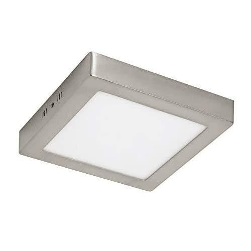 Plafón LED cuadrado, iluminación 18W (Luz Fria, Marco Niquel)