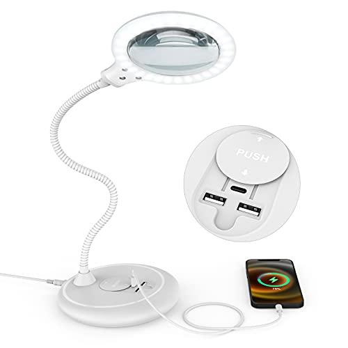 Tonhui 5X LED Dimmable Lampe Loupe avec port de charge USB C et USB,Grande De Bureau Loupe Eclairante sur Pied pour la Lecture, Les Personnes âgées, Les Loisirs, l'artisanat, l'établi