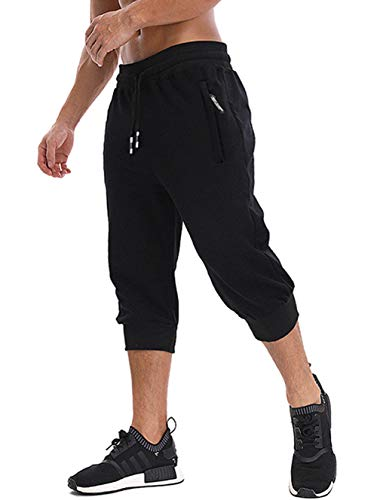 MAGNIVIT Men's Workout 3/4 Joggers Bodybuilding Gym Shorts Capri Pants Black