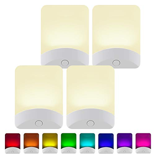 GE White Color-Changing LED Night Light, 4 Pack, Plug-in, Dusk-to-Dawn, Home Décor, UL-Listed, Ideal for Bedroom, Bathroom, Nursery, Kitchen, 50860, 4