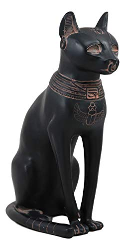 Ebros Ancient Egyptian Goddess Bastet Statue in Rustic Clay Finish Temple of Bast Feline Ubasti Cat Deity of Home Women and Protection Decor Figurine Sculpture As Historical Educative Tool Or Accent