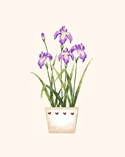 WOWDECOR DIY Malen nach Zahlen für Erwachsene Kinder Mädchen, Blume Lila Blätter Blumentopf Romantisch Schön 40x50cm Vorgedruckt Leinwand-Ölgemälde (ohne Rahmen)