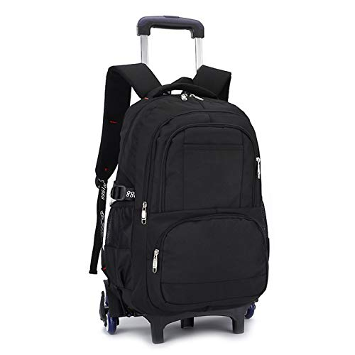 Kids Suitcases on Wheels Cabin Luggage Backpack with Wheels, Wheeled Rucksacks Trolley on 2 Wheels Lightweight Luggage,Black,A